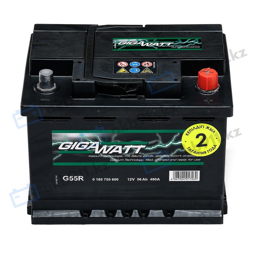 Автомобильный аккумулятор GIGAWATT (Гигаватт) 56 Ah 556400 G56R в Алматы