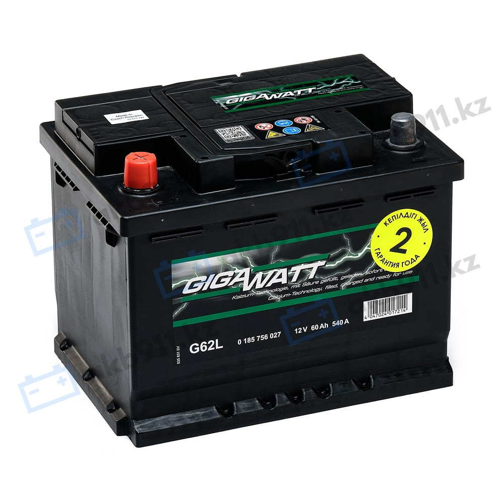 Автомобильный аккумулятор GIGAWATT (Гигаватт) 60 Ah 560127 G60L