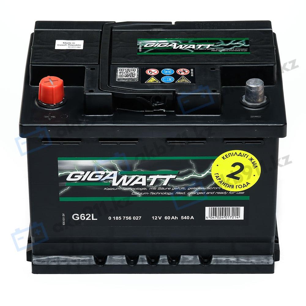Автомобильный аккумулятор GIGAWATT (Гигаватт) 60 Ah 560127 G60L в Алматы
